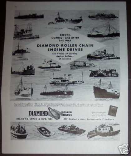Boats Ship Art Diamond Roller Chain (1945)