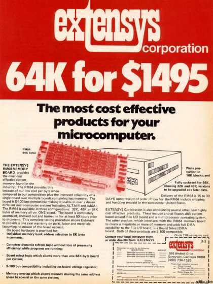 Extensys Corporation's 64K RAM (1977)