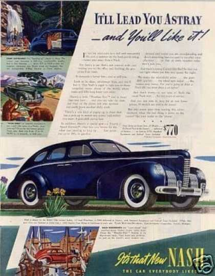 "Nash 4-door Sedan Ad ""It'll Lead You Astray... (1939)"
