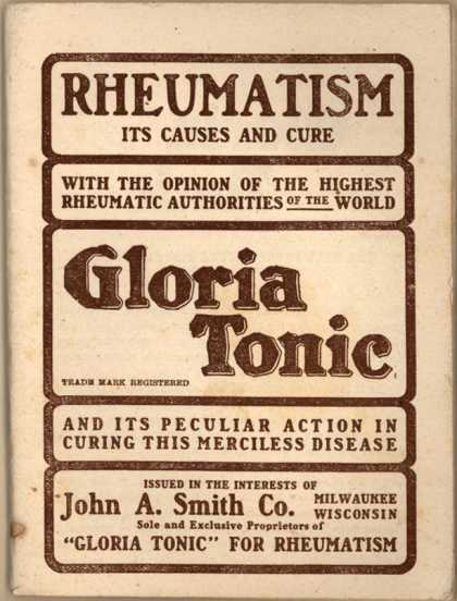 John A. Smith Co.'s Gloria Tonic – Rheumatism: Its causes and cures