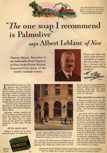 "Colgate-Palmolive-Peet Company's Palmolive Soap – ""The one soap I recommend is Palmolive"" says Albert Leblanc of Nice (1929)"