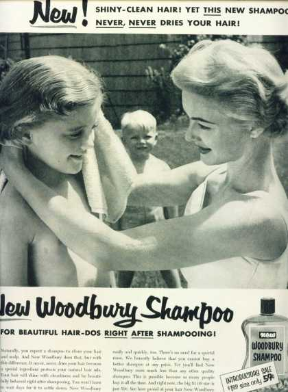 Woodbury Shampoo Ad Pretty Mom & Children (1954)