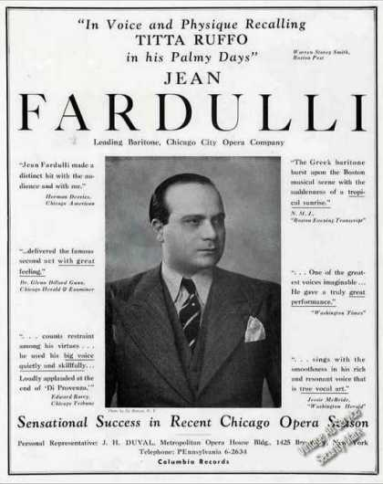 Jean Fardulli Baritone Chicago City Opera Trade (1936)