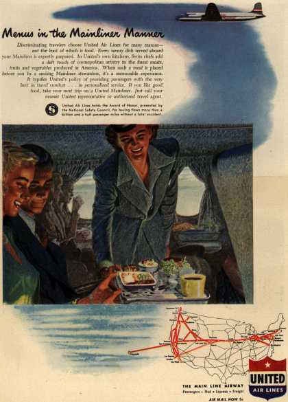 United Air Line's Meals – Menus in the Mainliner Manner (1947)