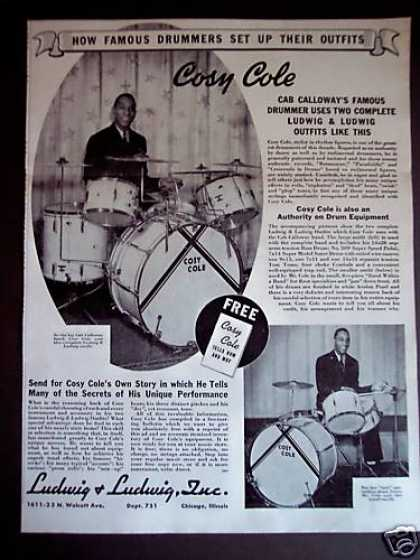 Drummer Cosy Cole Photo Ludwig Drums (1940)