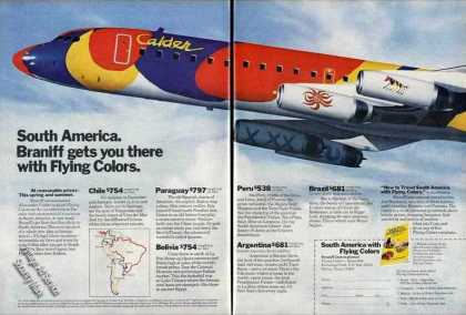 Braniff To South America Colorful Airplane (1974)