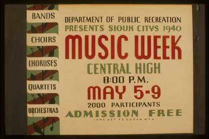 Department of Public Recreation presents Sioux Citys [sic] 1940 music week – Bands, choirs, choruses, quartets, orchestras. (1940)