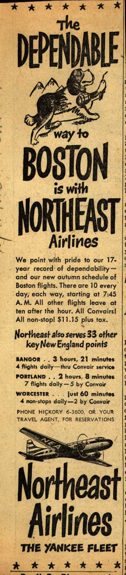 Northeast Airline's Boston – The DEPENDABLE way to BOSTON is with NORTHEAST Airlines (1950)