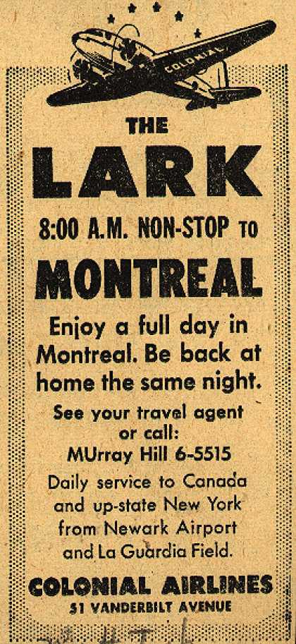 Colonial Airline's Montreal – The Lark 8:00 A.M. Non-Stop to Montreal (1947)