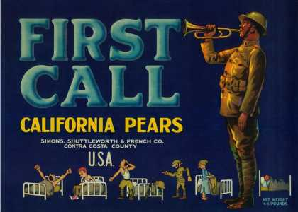 First Call Pear Crate Label – Contra Costa, CA