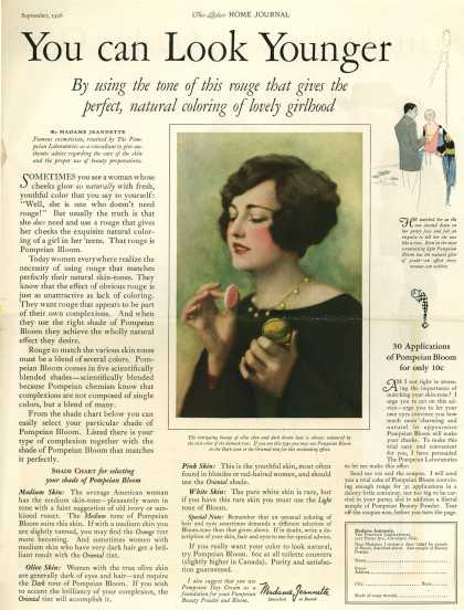 Pompeian Bloom's rouge – You can Look Younger By using the tone of this rouge that gives the perfect, natural coloring of lovely girlhood (1926)