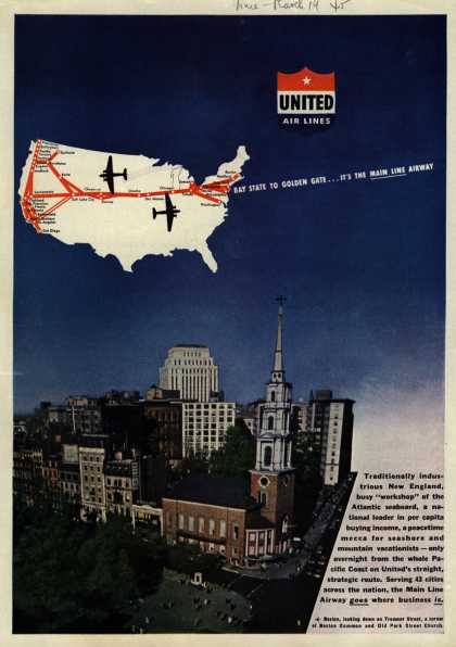 United Air Line&#8217;s Main Line Airway &#8211; BAY STATE TO GOLDEN GATE... IT&#8217;S THE MAIN LINE AIRWAY (1945)