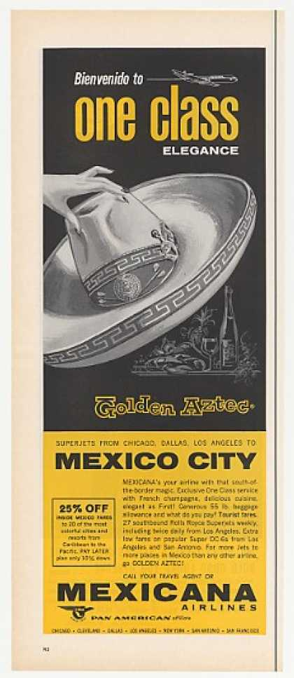 Mexicana Airlines Golden Aztec 1 Class Sombrero (1965)