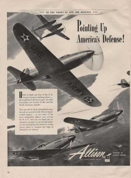 Aillison Aircraft Engines Army Airplanes A (1941)