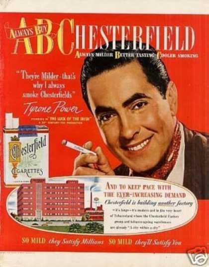 Chesterfield Cigarettes Ad Tyrone Power (1948)