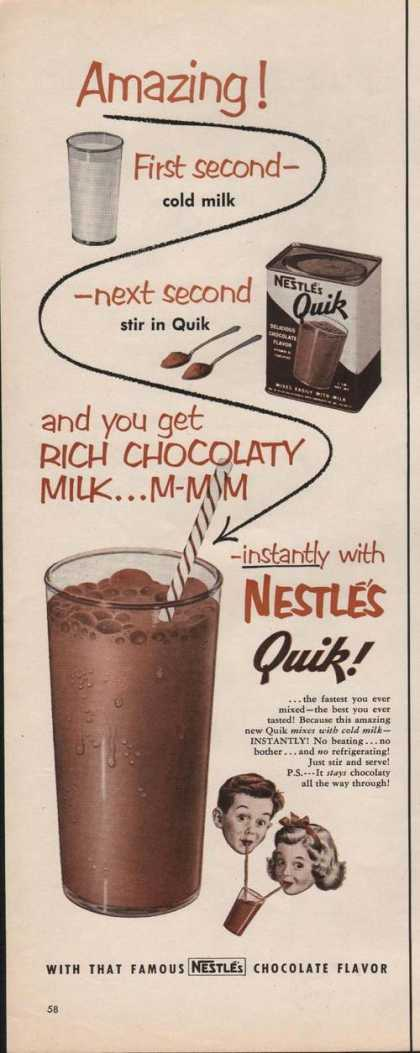 Nestles Quick Chocolate Flavor Milk (1951)