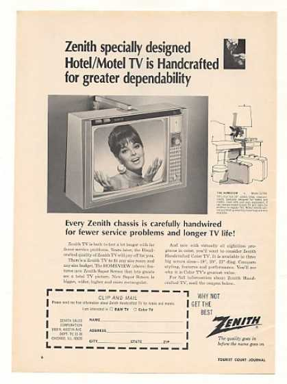 Zenith Homeview Motel Hotel TV Television (1967)