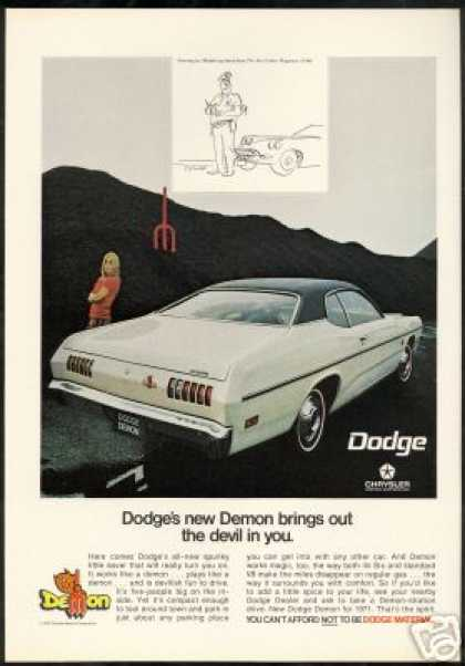 Dodge Demon Model Comic Policeman Art Vintage (1971)