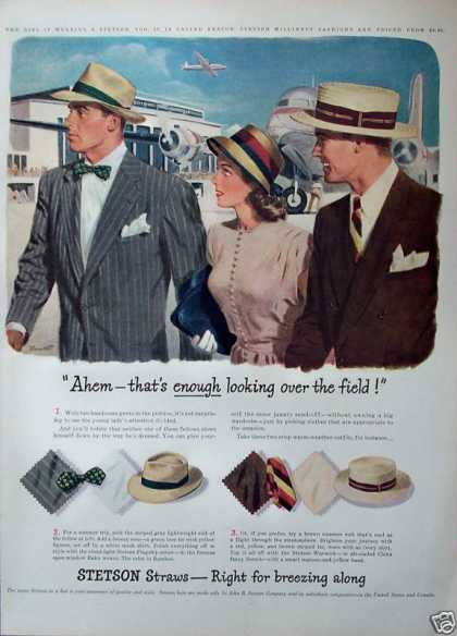 Stetson Hats Trio Air Field Air Plane Air Port (1947)