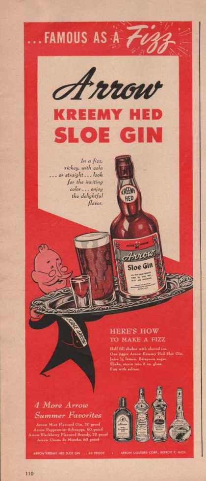 Arrow Kreemy Hed Sloe Gin (1949)