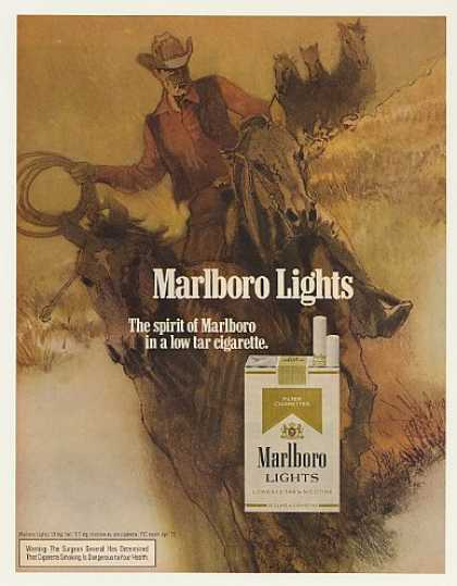 '72 Marlboro Lights Cigarette Cowboy Horse art (1972)