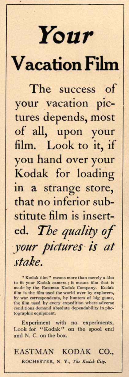 Kodak – Your Vacation Film (1910)