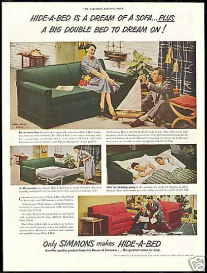 Simmons Hide A Bed Sofa Photo Vintage (1950)