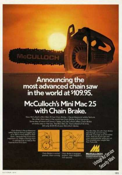 Mcculloch Mini Mac 25 Most Advanced Chain Saw (1975)