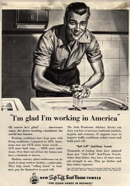 "Scott Paper Company's Soft-Tuff ScotTissue Towels – ""I'm glad I'm working in America"" (1941)"