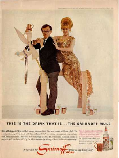 Smirnoff Woody Allen Vodka Bottle Ad T (1966)