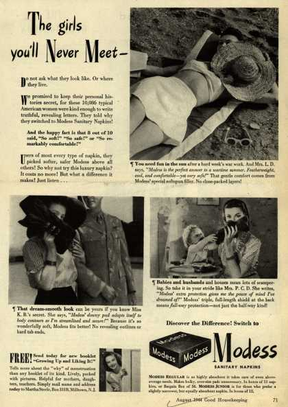 Modes's Sanitary Napkins – The girls you'll Never Meet- (1944)