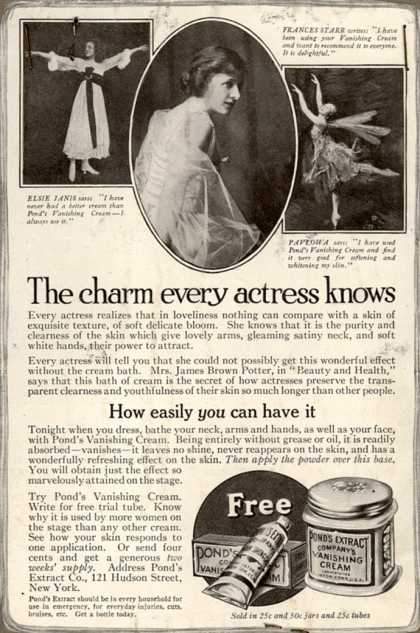 Pond's Extract Co.'s Pond's Vanishing Cream – The charm every actress knows (1916)