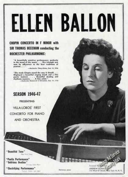Ellen Ballon Photo Piano Booking (1946)