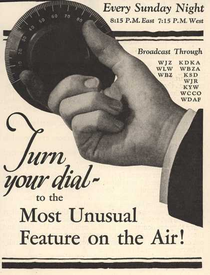 Various radio station's Radio Program – Turn your dial to the most unusual feature on the Air (1929)