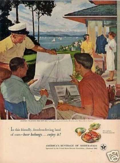 "Beer Belongs Ad ""Planning the New Rig"" Crockwell (1951)"