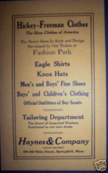 Haynes & Co Clothes Clothing Springfield Ma (1922)
