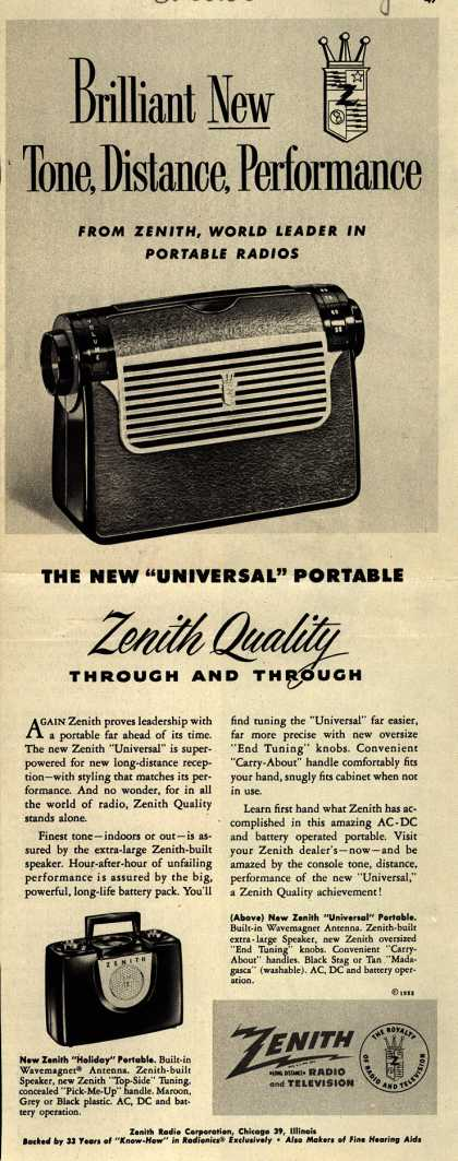 "Zenith Radio Corporation's ""Universal"" Portable Radio – Brilliant New Tone, Distance, Performance (1952)"