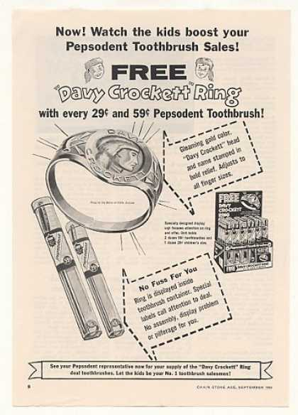 Davy Crockett Ring Pepsodent Toothbrush Trade (1955)