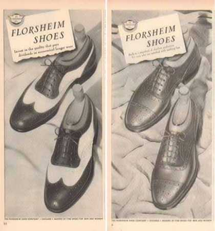 Florsheim Shoes Ads – Wing Tip Styles – Set of Two (1948)