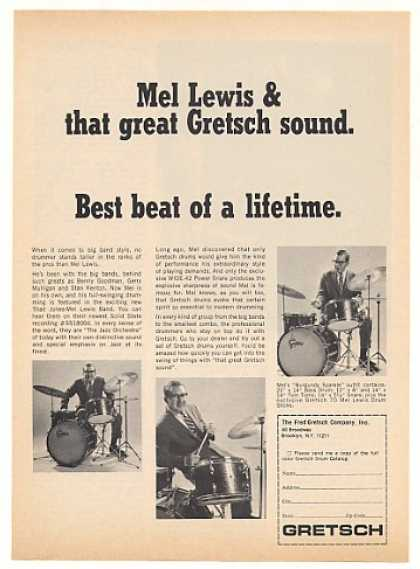 Mel Lewis Gretsch Drums 3 Photo (1968)