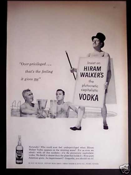 Man Wearing Sandwich Board Hiram Walker's Gin (1956)