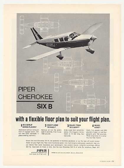Piper Cherokee Six B Airplane Aircraft Photo (1969)