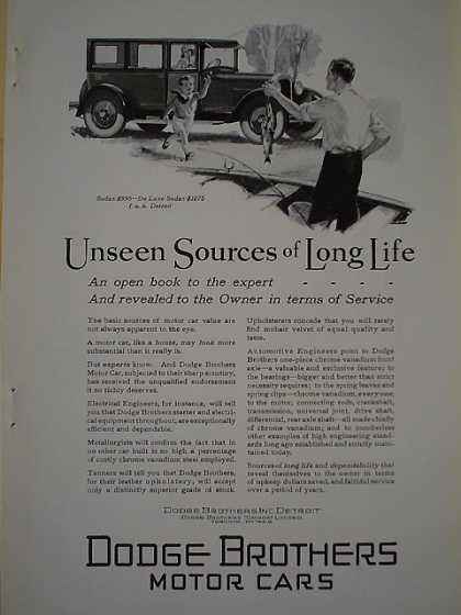 Dodge Brothers Bros Motor Cars Sources of long life (1926)