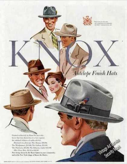 Knox Antelope Finish Hats Collectible Fashion (1950)