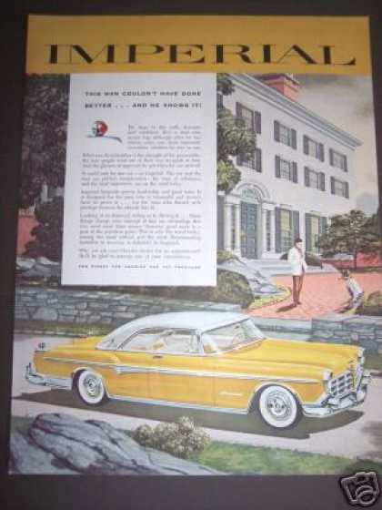 Car Ad Yellow Two-tone Imperial Chrysler (1955)
