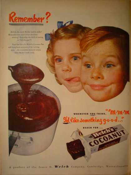 Welch's Cocanut bar James O Welch Company (1952)