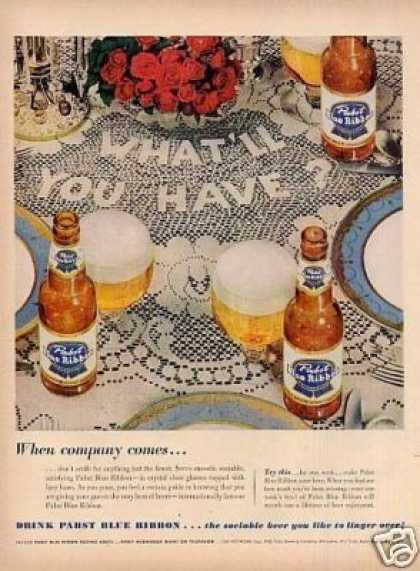 "Pabst Blue Ribbon Beer Ad ""When Company... (1953)"