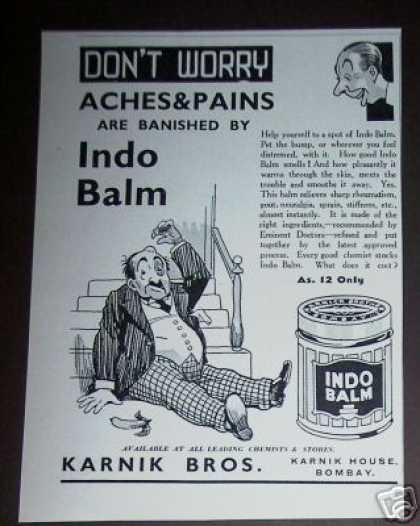 Indo Balm Aches &amp; Pains Medicine Bombay (1936)