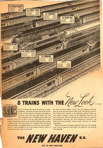 New Haven Railroad's New coach cars – 8 Trains With The New Look... (1947)