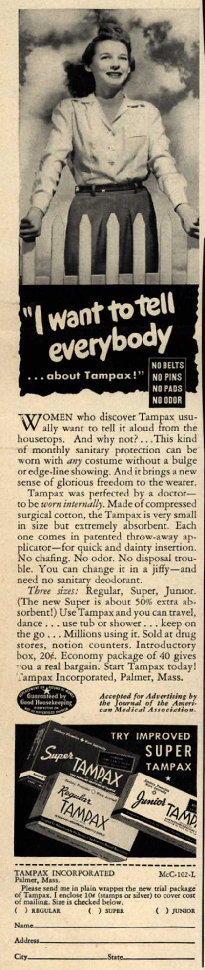 "Tampax's Tampons – ""I want to tell everybody...about Tampax!"" (1942)"